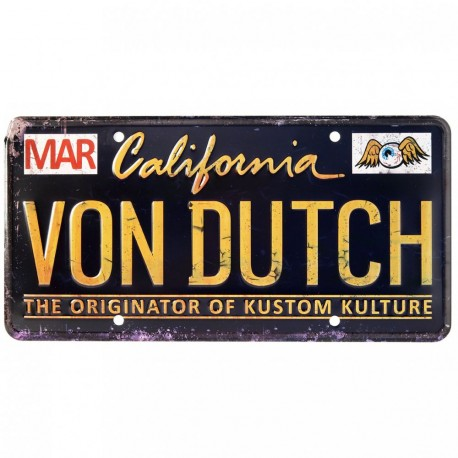 plaque voiture d corative von dutch black. Black Bedroom Furniture Sets. Home Design Ideas