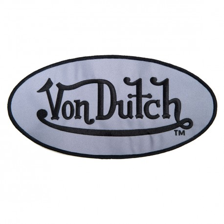 Patch Ovale, Gris, Von Dutch Brodé Noir, Grand Modèle