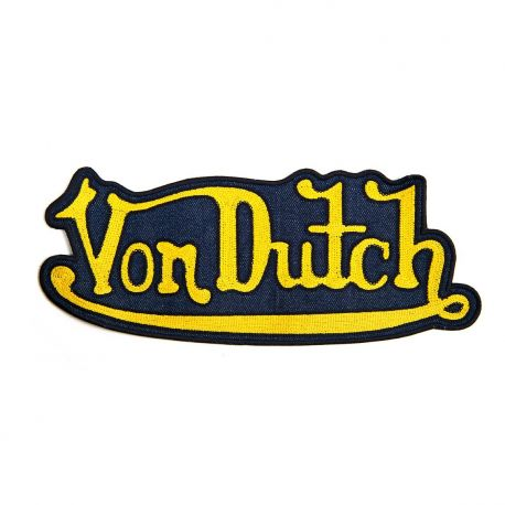 Patch Denim Von Dutch Brodé Jaune, Grand Modèle