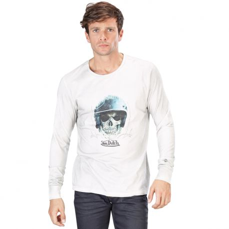 t shirt long white skull helmet