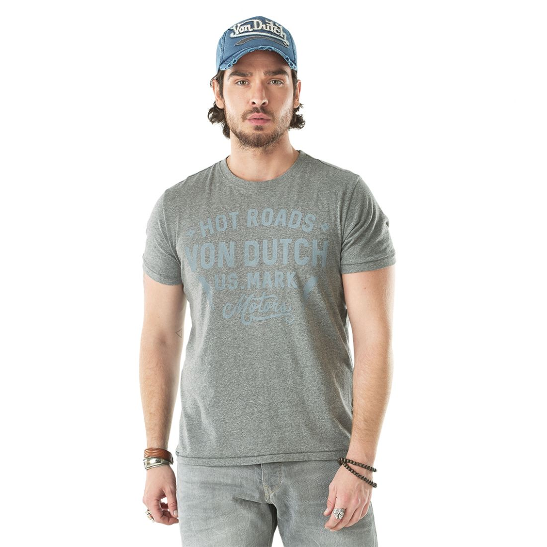 398c4030a74 T-shirt homme Von Dutch Angeles Anthracite Col Rond