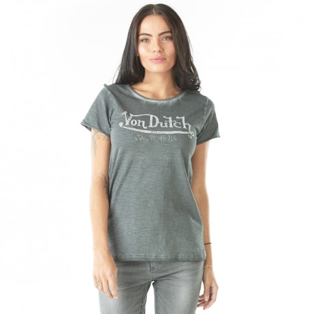 T-shirt femme Von Dutch Queen Gris