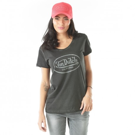 Tee-shirt femme Von Dutch Casting Gris Anthracite