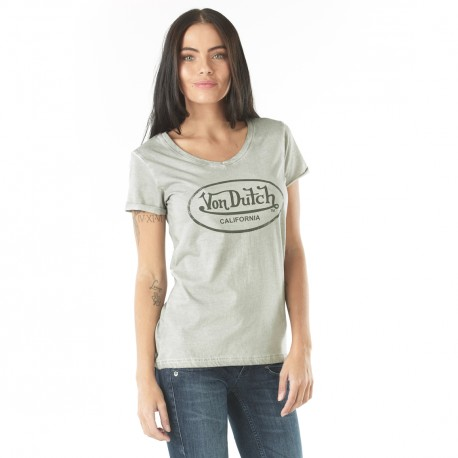 Von Dutch women's light grey Casting t-shirt