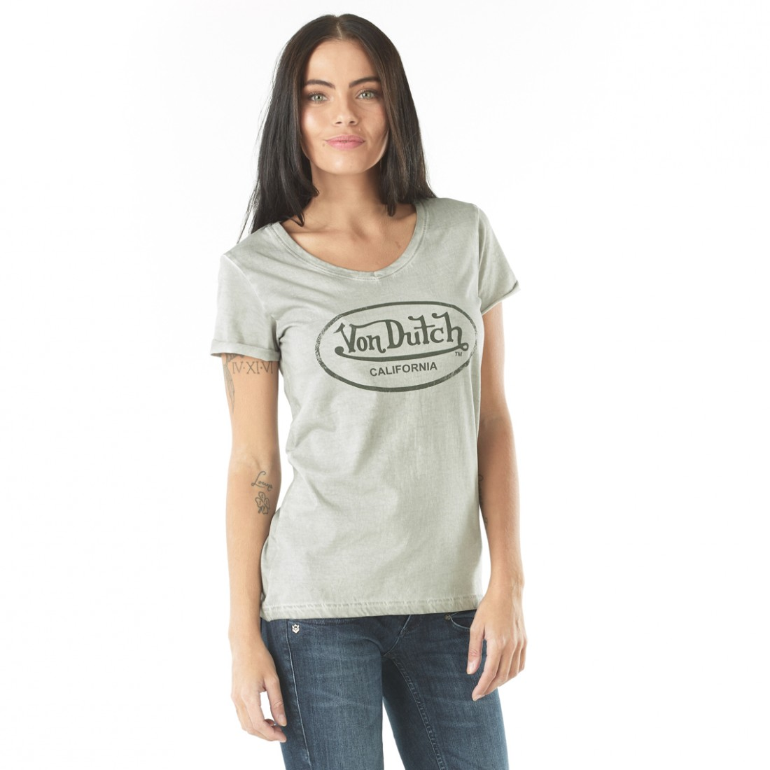 Tee-shirt Femme Von Dutch Casting Gris Clair