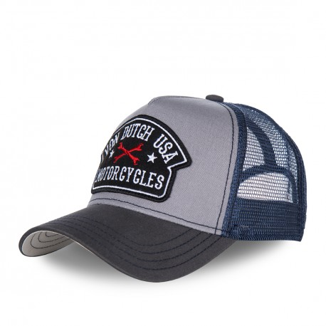 Casquette baseball homme VONDUTCH filet Square Bleu