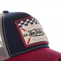 Blue and Red Von Dutch Square baseball cap zoom on the front