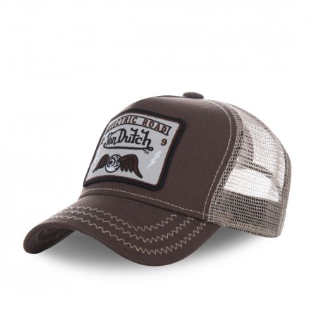 Casquette homme filet Von Dutch Square Flying Eye Marron