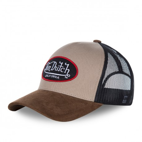 Casquette baseball homme VONDUTCH filet Suede Beige