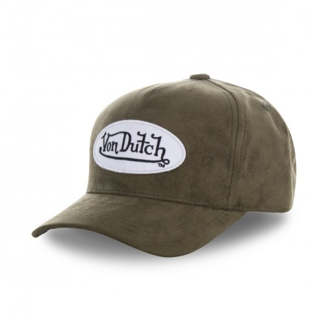 Casquette baseball Von Dutch filet Suede Kaki