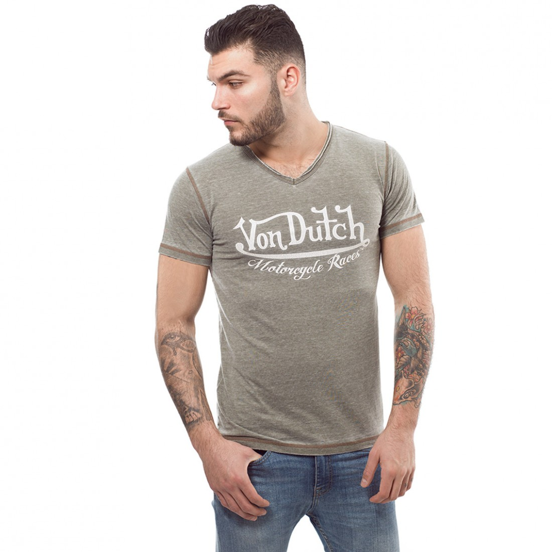 T-shirt homme Von Dutch Cox Marron