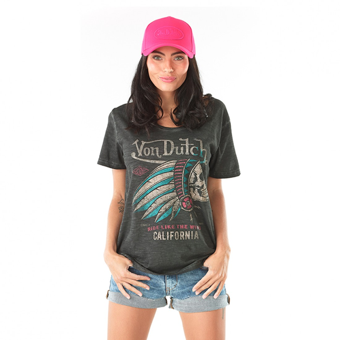 T-shirt femme Von Dutch Camaro Anthracite