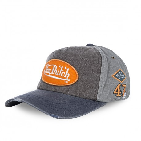 Grey Von Dutch JackGmo Baseball Cap with Orange Logo
