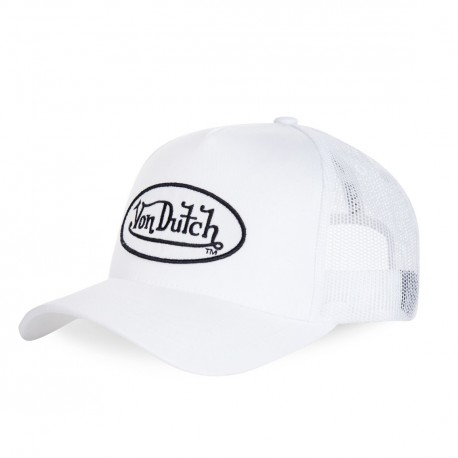 Casquette baseball femme filet Von Dutch Eva5 Blanc Logo Noir