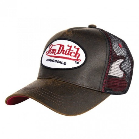 Casquette baseball homme Von Dutch Leather Style Marron