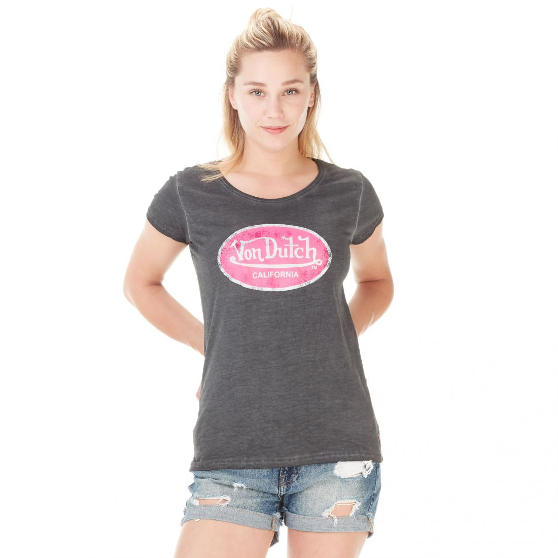 T-shirt Von Dutch femme Aarona Anthracite Used