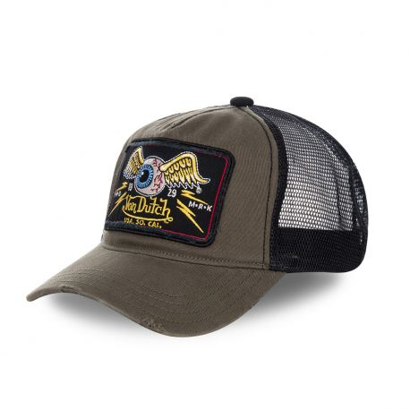 Casquette Trucker Homme Von Dutch Flying Eye Kaki