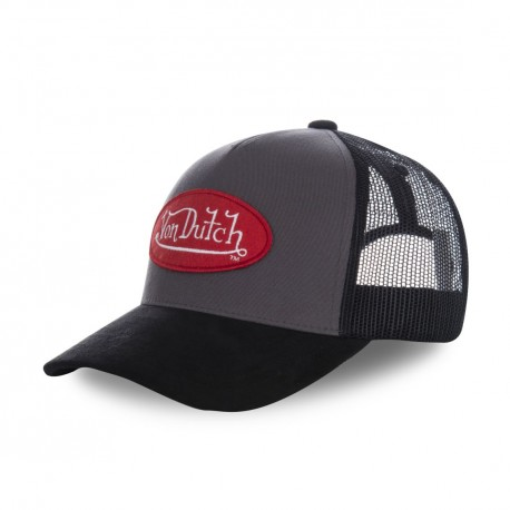 Grey Suede Von Dutch baseball cap