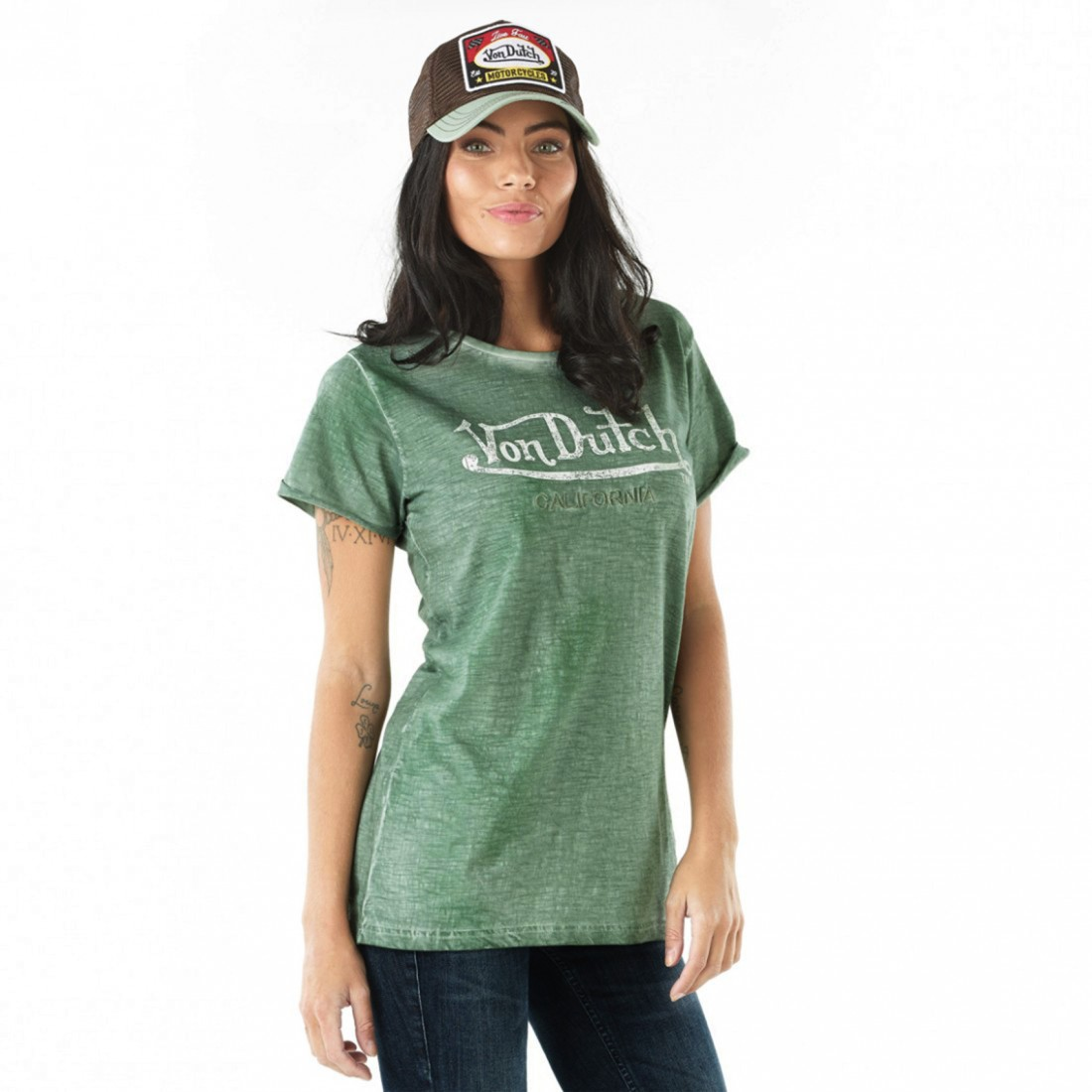 T-Shirt Femme Von Dutch Queen Vert