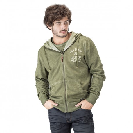 Sweat homme zippe capuche VON DUTCH BLAST Vert