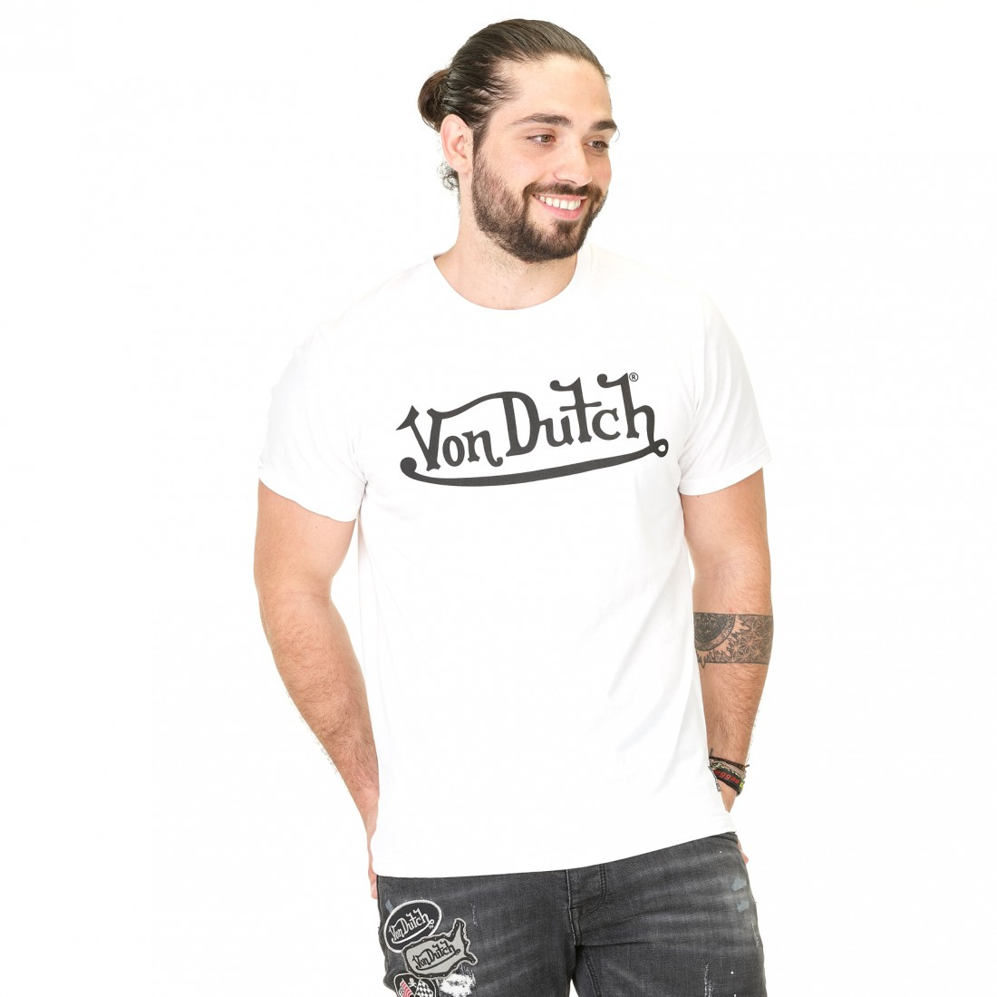 T-shirt homme Von Dutch Best Blanc Imprimé Noir