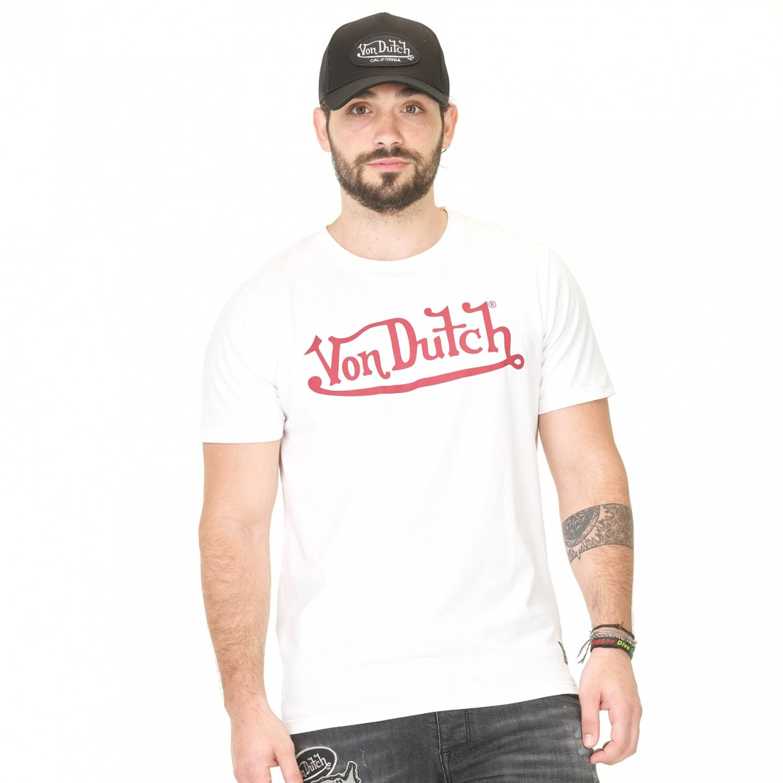 T-shirt homme Von Dutch Best Blanc Imprimé Rouge vue de face