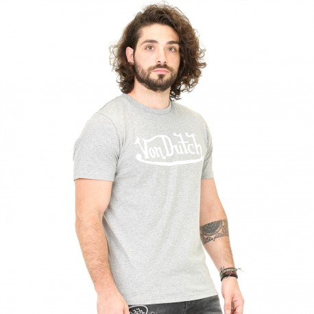 T-shirt homme Von Dutch Best Gris Imprimé Blanc