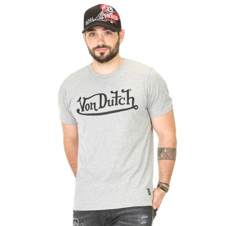 T-shirt homme Von Dutch Best Gris Imprimé Noir