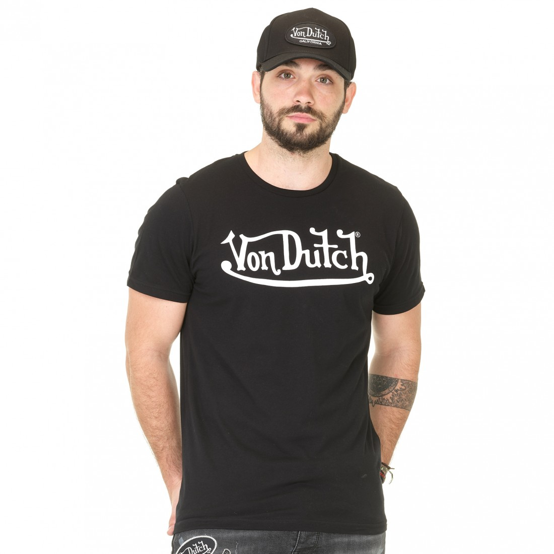 T-shirt homme Von Dutch Best Noir Imprimé Blanc