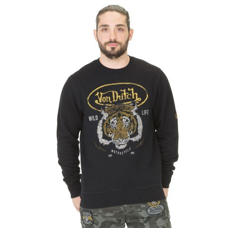 Sweat Col rond Homme Von Dutch Tiger Noir