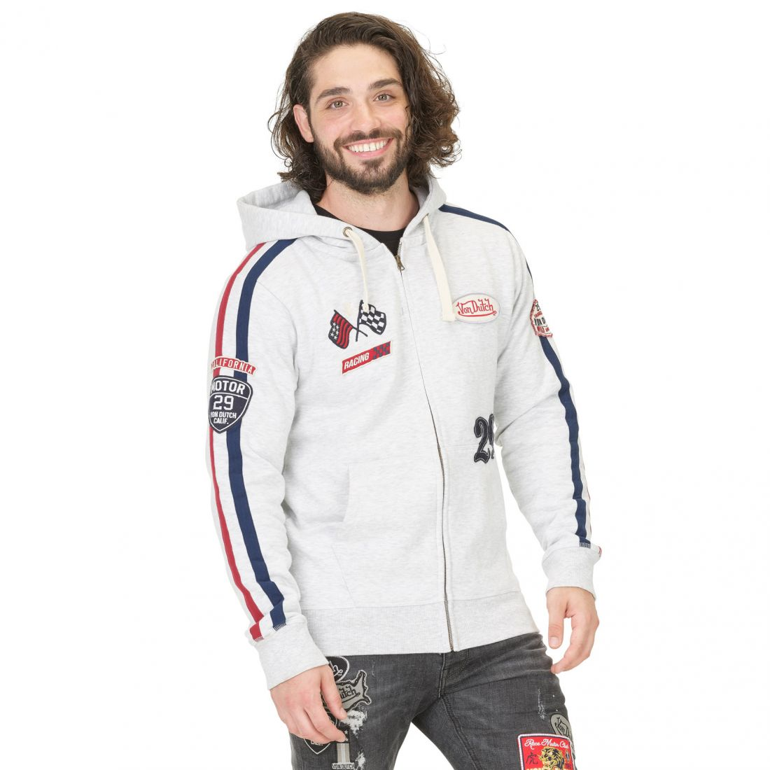 Sweat Zippé à Capuche Homme Von Dutch Bob Gris Chiné