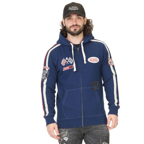 Sweat Zippé à Capuche Homme Von Dutch Bob Navy