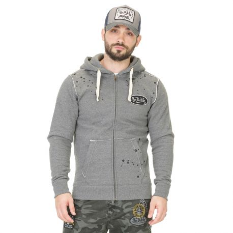 Sweat Zippé à Capuche Homme Von Dutch Eyes Gris