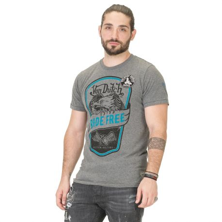 T-shirt Homme Von Dutch Eagle Ride Free Gris Foncé