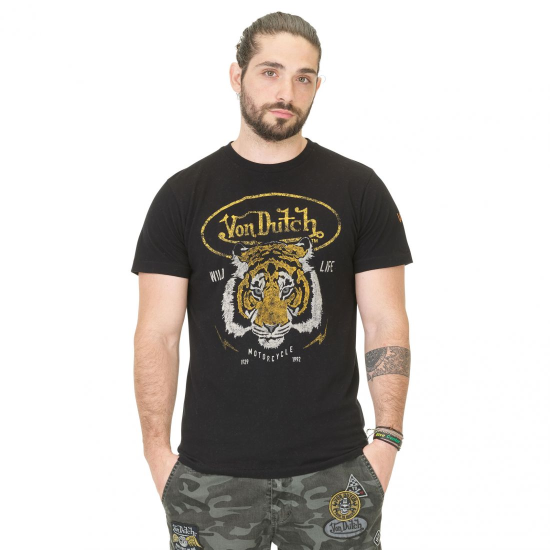 T-shirt Homme Von Dutch Tiger Noir