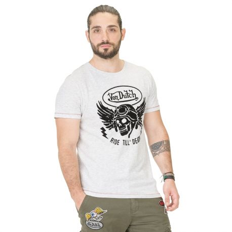 T-shirt Homme Von Dutch Death Gris Clair