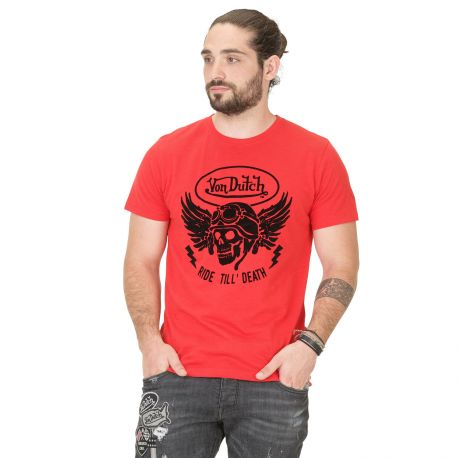 T-shirt Homme Von Dutch Death Rouge