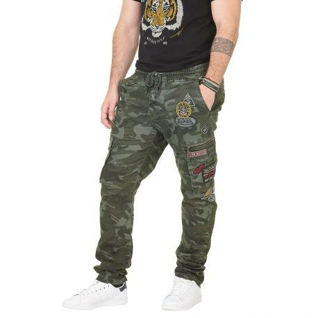 Pantalon Toile Homme Von Dutch War Camouflage Kaki
