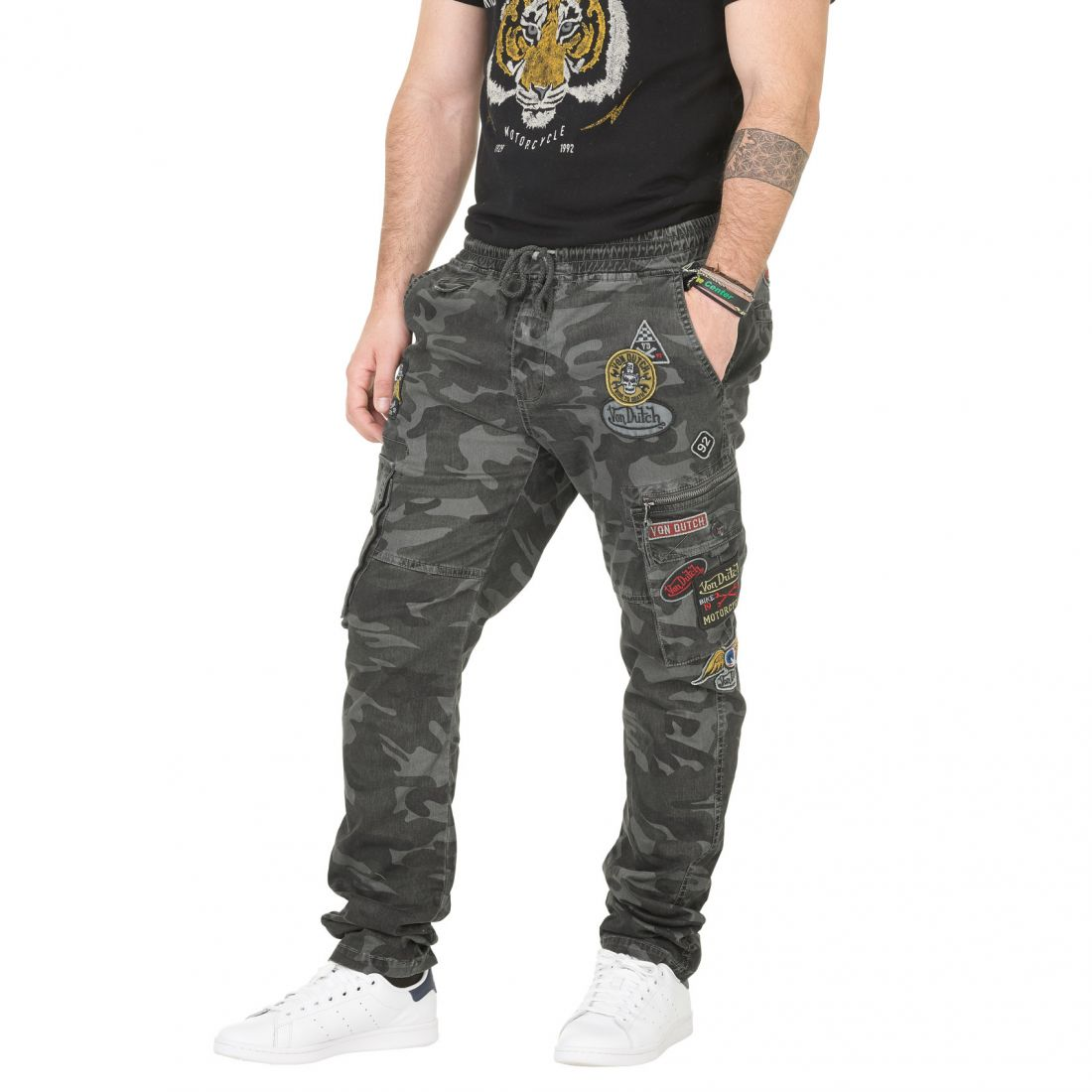 Pantalon Toile Homme Von Dutch War Camouflage Gris