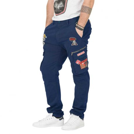 Pantalon Toile Homme Von Dutch Run Bleu Navy