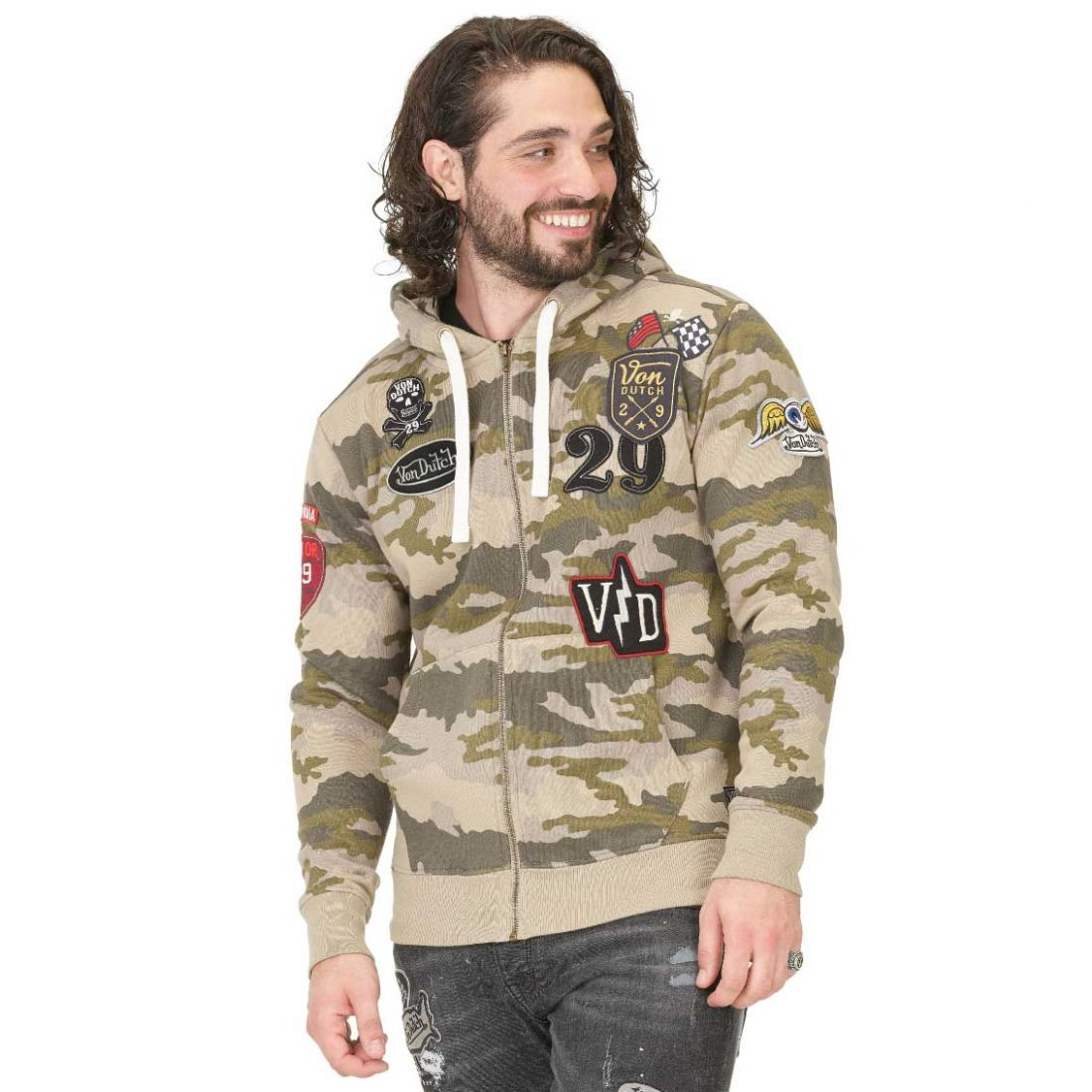 Sweat Zippé à Capuche Homme Von Dutch Billy Camouflage