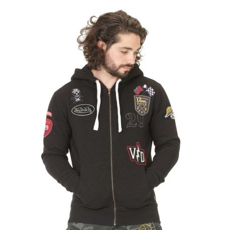 Sweat Zippé à Capuche Homme Von Dutch Billy Noir