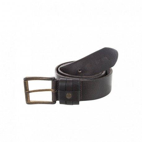 Brown leather triple pass belt