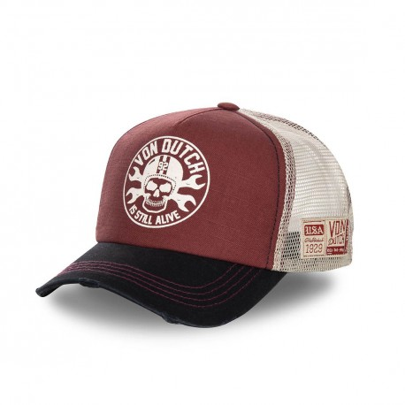 Burgundy Red Von Dutch Rags trucker cap
