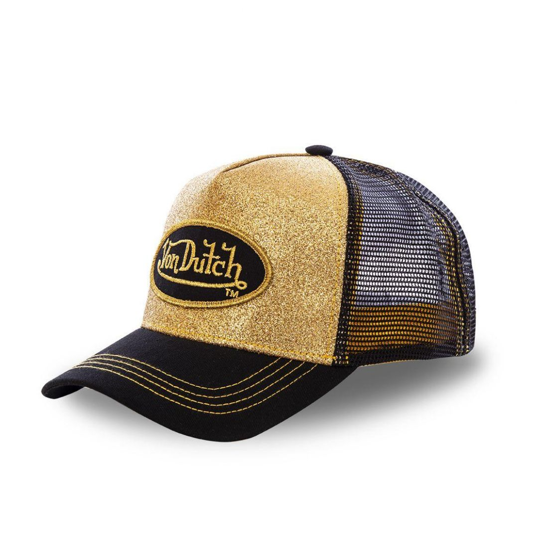 Casquette trucker Von Dutch Flakes Or et Noir