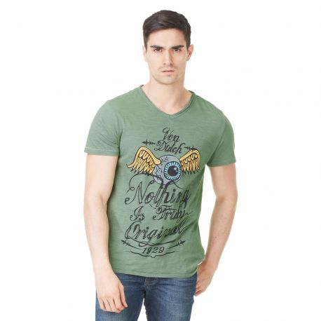 T-shirt homme Von Dutch Eyes'19 Vert Kaki