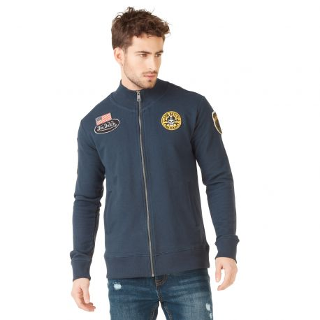Sweat à capuche zippé homme Von Dutch Tuscon Bleu