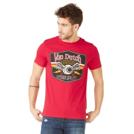 T-shirt homme Von Dutch Gas Rouge