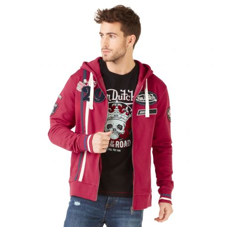 Sweat à capuche zippé homme Von Dutch Olympus Rouge