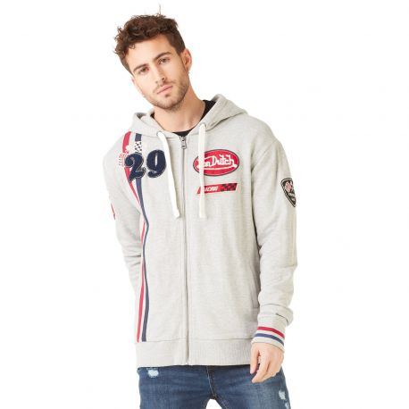 Sweat à capuche zippé homme Von Dutch Olympus Gris Chiné